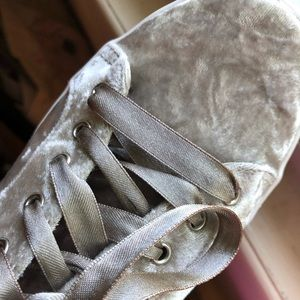 Shoes - Silver Velvet Sneakers sz 7